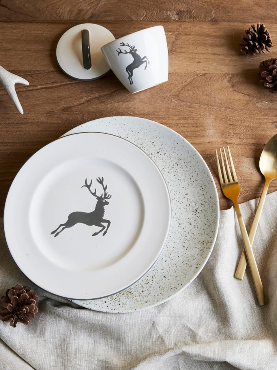 Piatto piano dipinto a mano Gourmet Grauer Hirsch, Ceramica, Grigio, bianco, Ø 27 cm