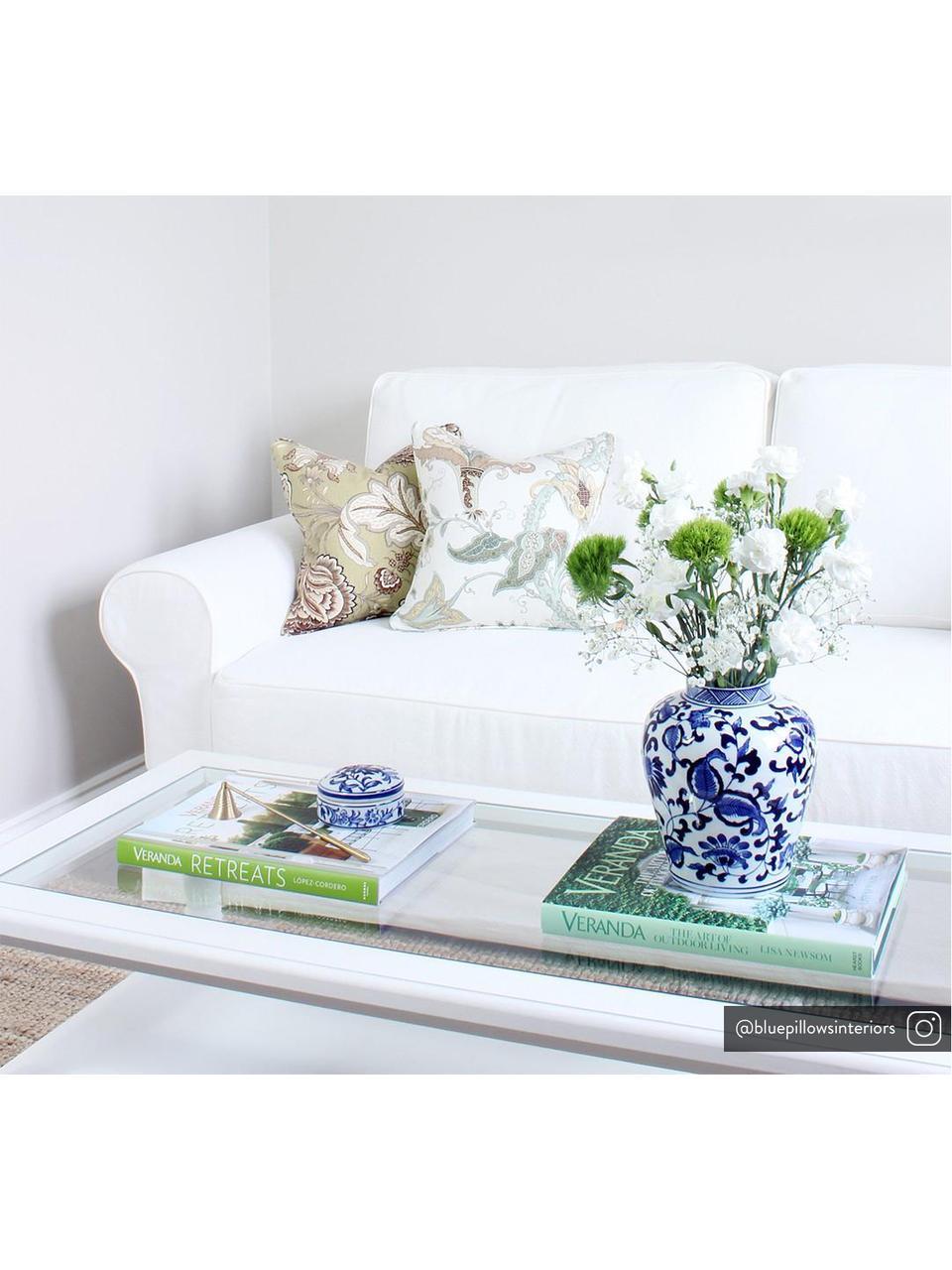Wazon z porcelany z pokrywką Annabelle, Porcelana, Niebieski, biały, Ø 16 cm