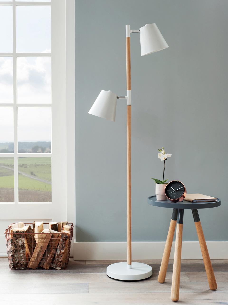 Lampa podłogowa Rubi, Metal powlekany, drewno naturalne, Biały, Ø 18 x W 150 cm