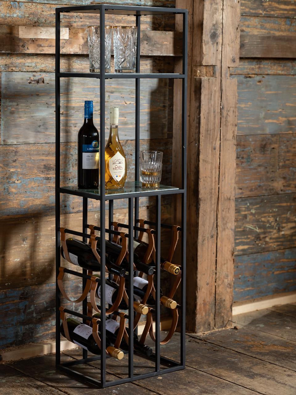 Marmor-Weinregal Mil für 9 Flaschen, Gestell: Metall, pulverbeschichtet, Schwarz, Grün, 36 x 126 cm