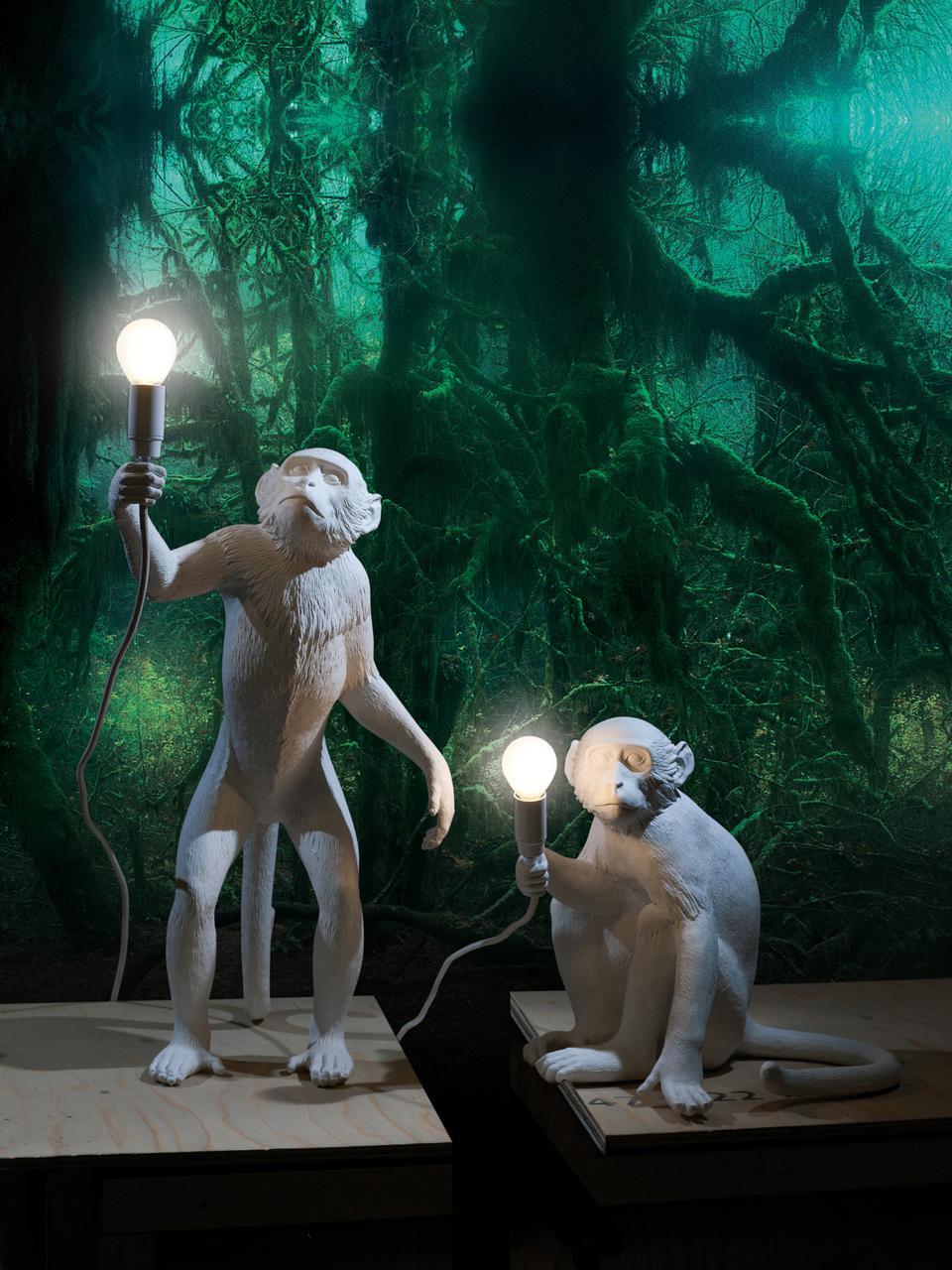 Petite lampe à poser design Monkey, Blanc