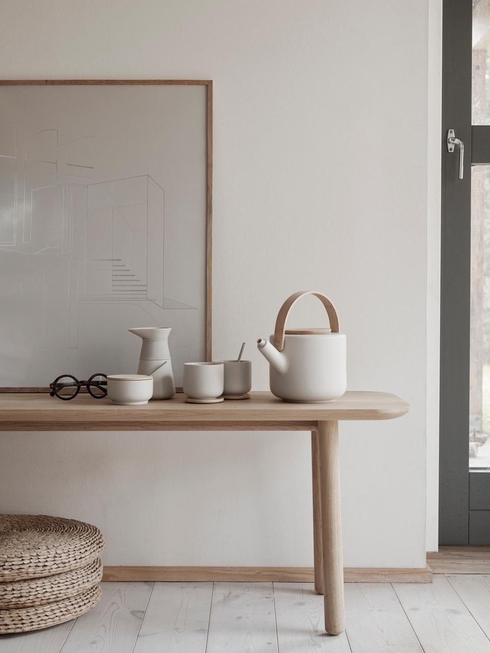 Teiera in gres bianco opaco Theo, 1.25 L, Brocca: gres, Bianco latteo, bambù, 1.25 L