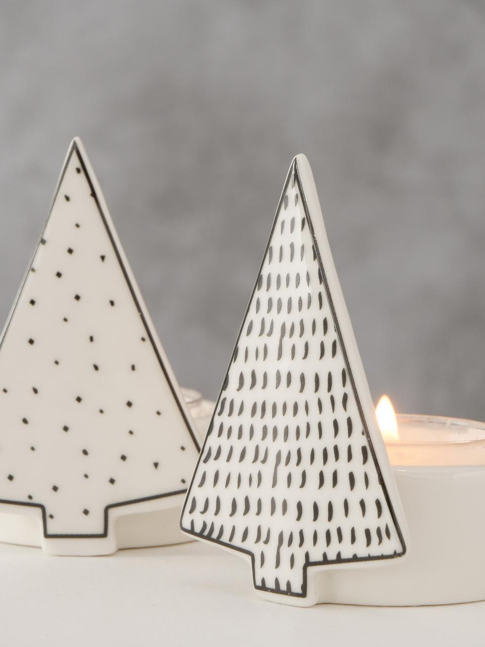 Teelichthalter-Set Cumulis, 2-tlg., Porzellan, Hellbeige, Schwarz, Ø 5 cm