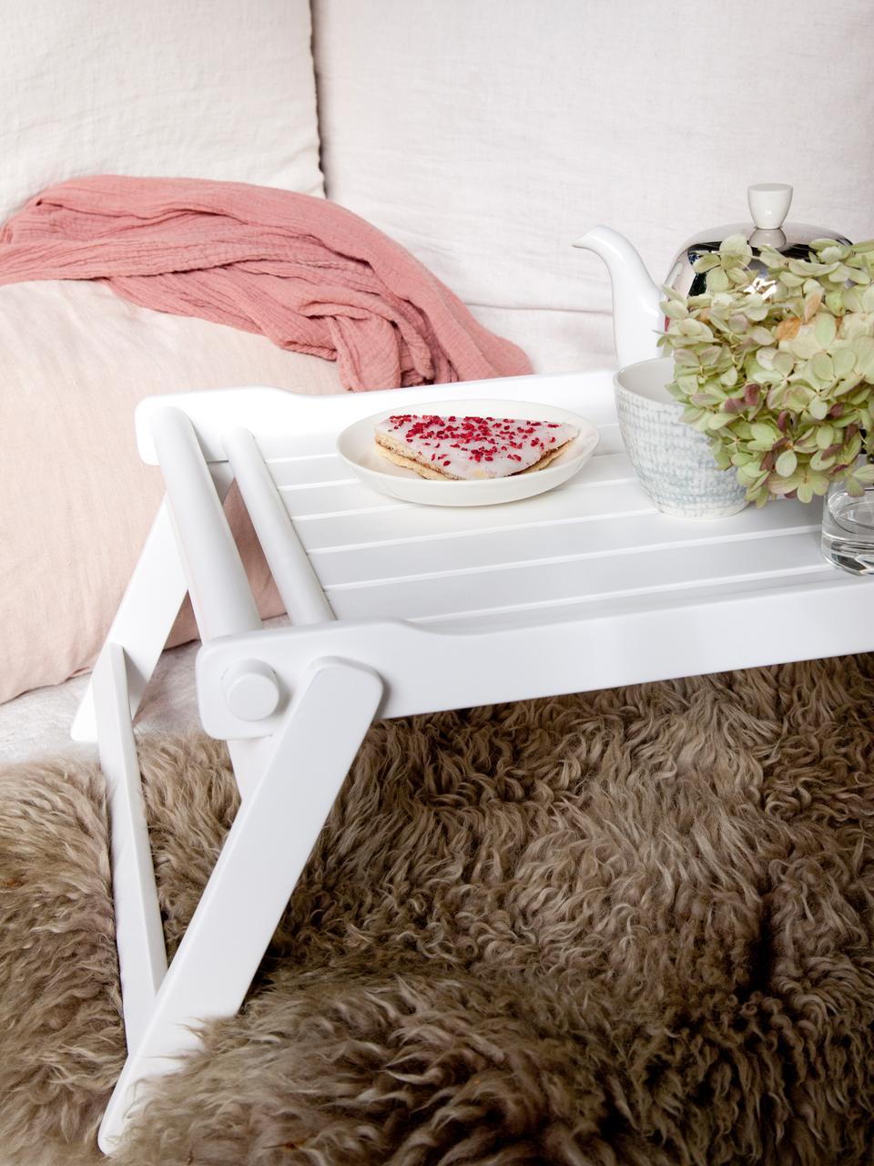 Plateau pliable sur pieds en bois Bed, larg. 36 x long. 50cm, Blanc