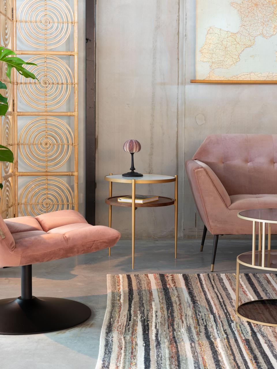 Stolik pomocniczy z imitacji marmuru Bella, Blat: ceramika w wzór marmurowy, Stelaż: metal lakierowany, Biały, odcienie złotego, drewno orzecha włoskiego, Ø 45 x W 54 cm
