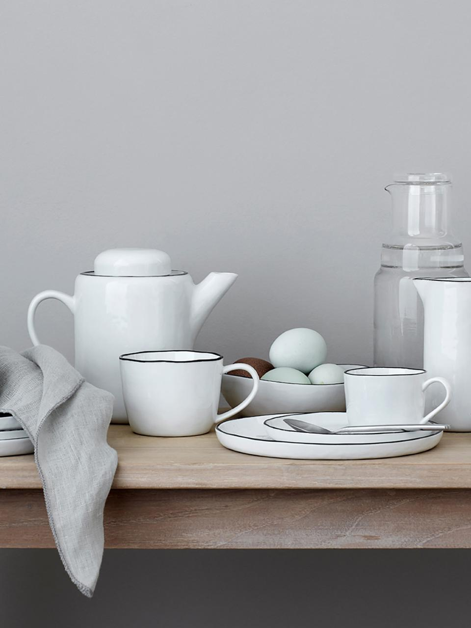 Tazzina caffè espresso fatta a mano Salt 2 pz, Porcellana, Bianco latteo, nero, Ø 6 x Alt. 5 cm