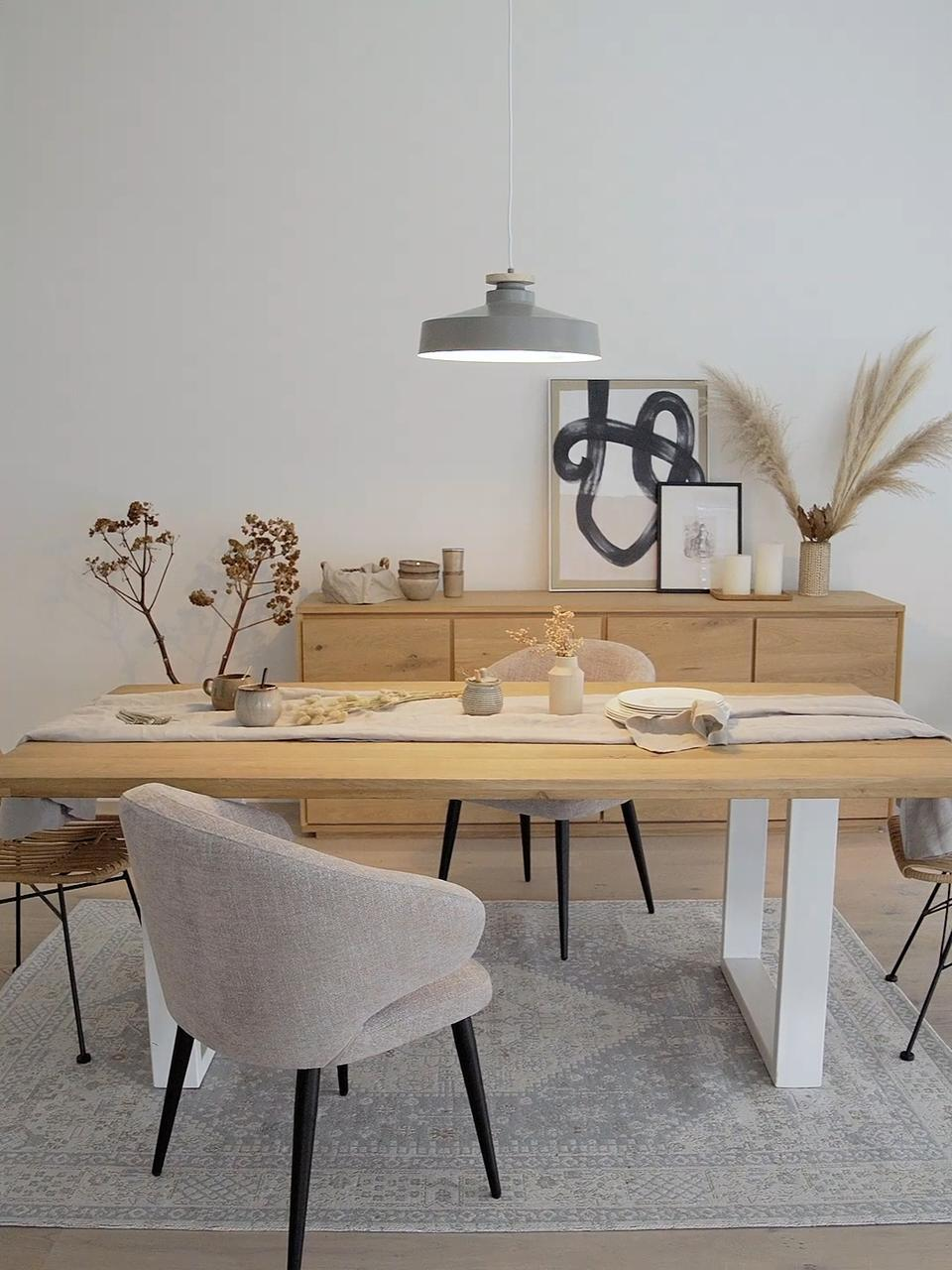 Skandi-Pendelleuchte Malm, Lampenschirm: Metall, Dekor: Holz, Baldachin: Metall, Grau, Ø 40 x H 20 cm