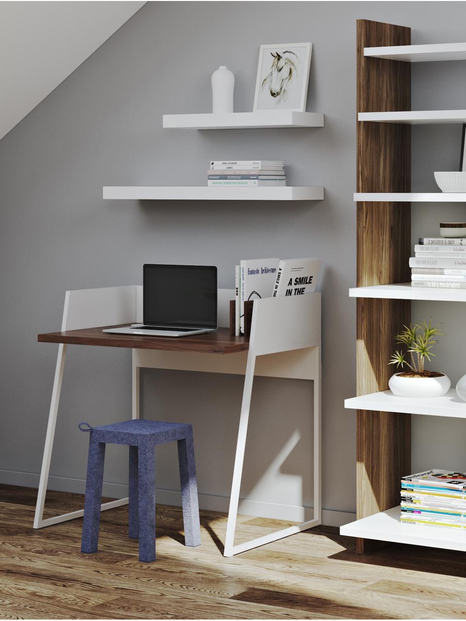 Klein bureau Camille met plank, Poten: gelakt metaal, Walnoothoutkleurig, mat wit, B 90 x D 60 cm