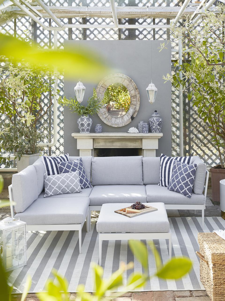 Modułowa sofa ogrodowa Acton, Szary, S 226 x G 148 cm