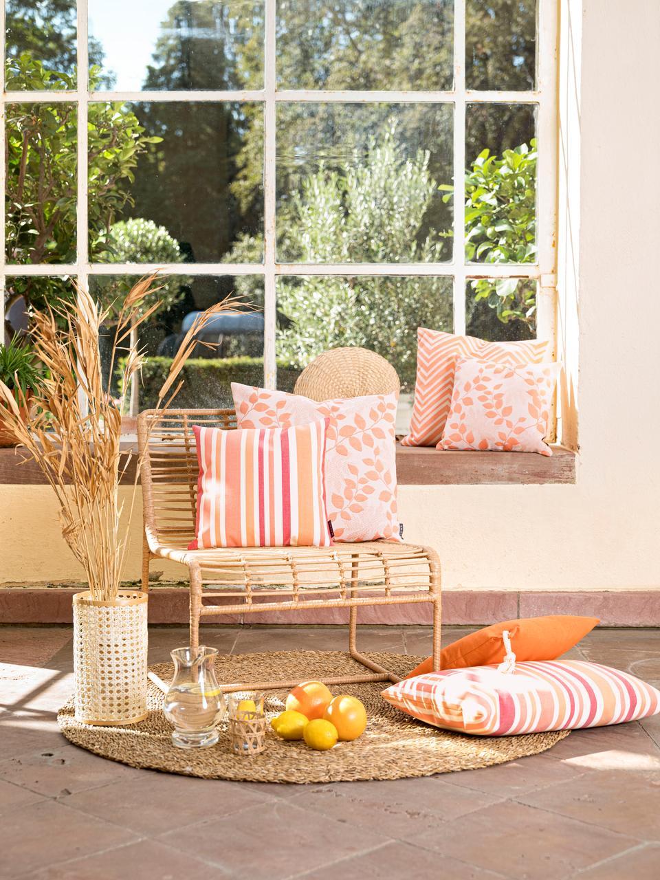 Gestreifte Outdoor-Kissenhülle Marbella, 100% Dralon® Polyacryl, Orange, Weiß, Rosatöne, 40 x 60 cm