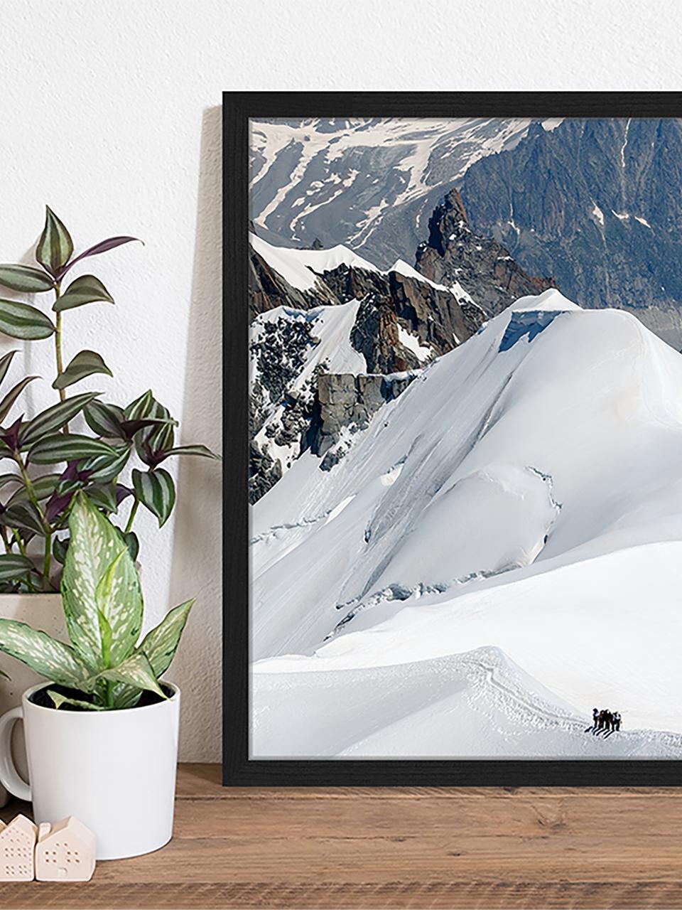 Gerahmter Digitaldruck The Ice Caps And Mountains., Bild: Digitaldruck auf Papier, , Rahmen: Holz, lackiert, Front: Plexiglas, Mehrfarbig, 43 x 53 cm