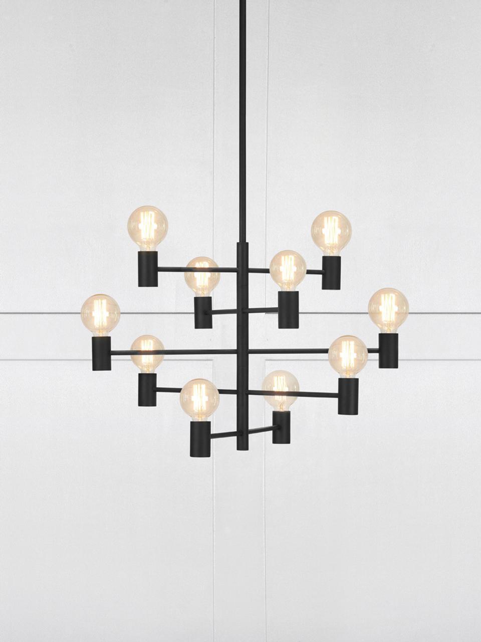Velký lustr Paris, Lampa: černá Kabel: transparentní
