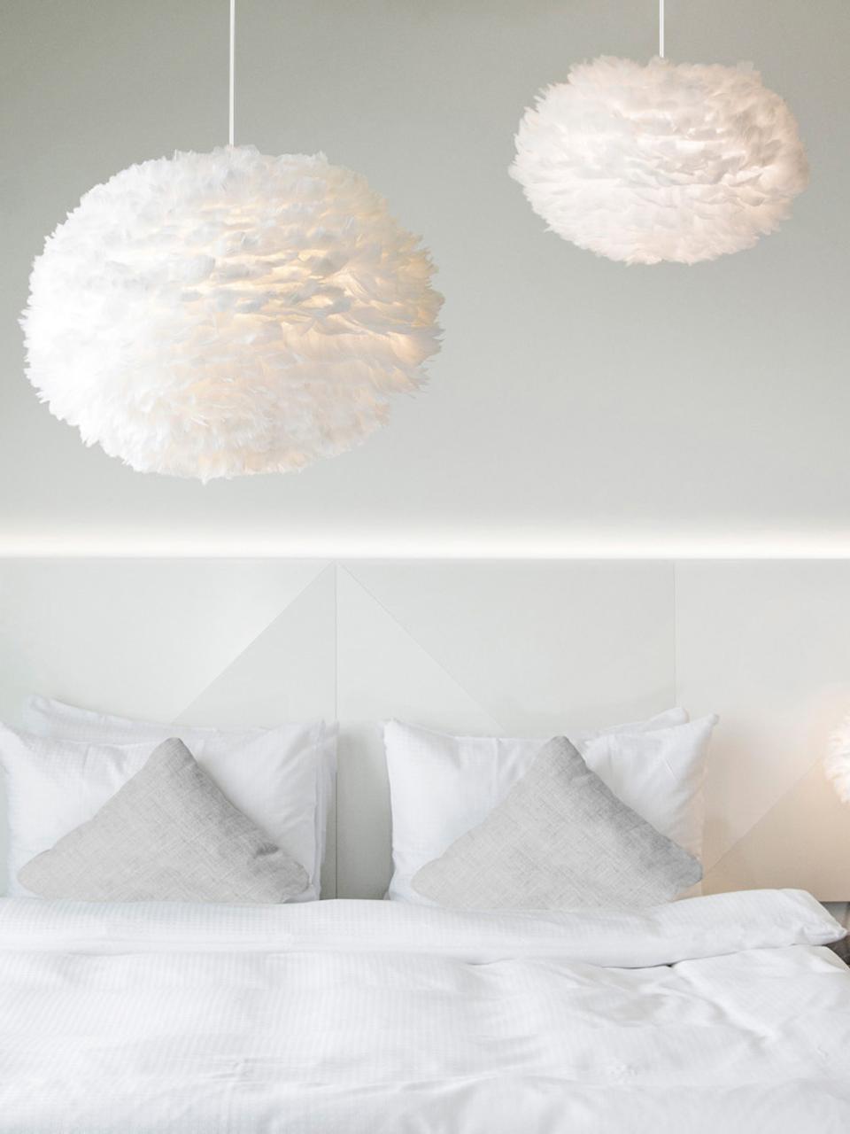 Lampa wisząca z piór Eos, Biały, Ø 65 x W 40 cm