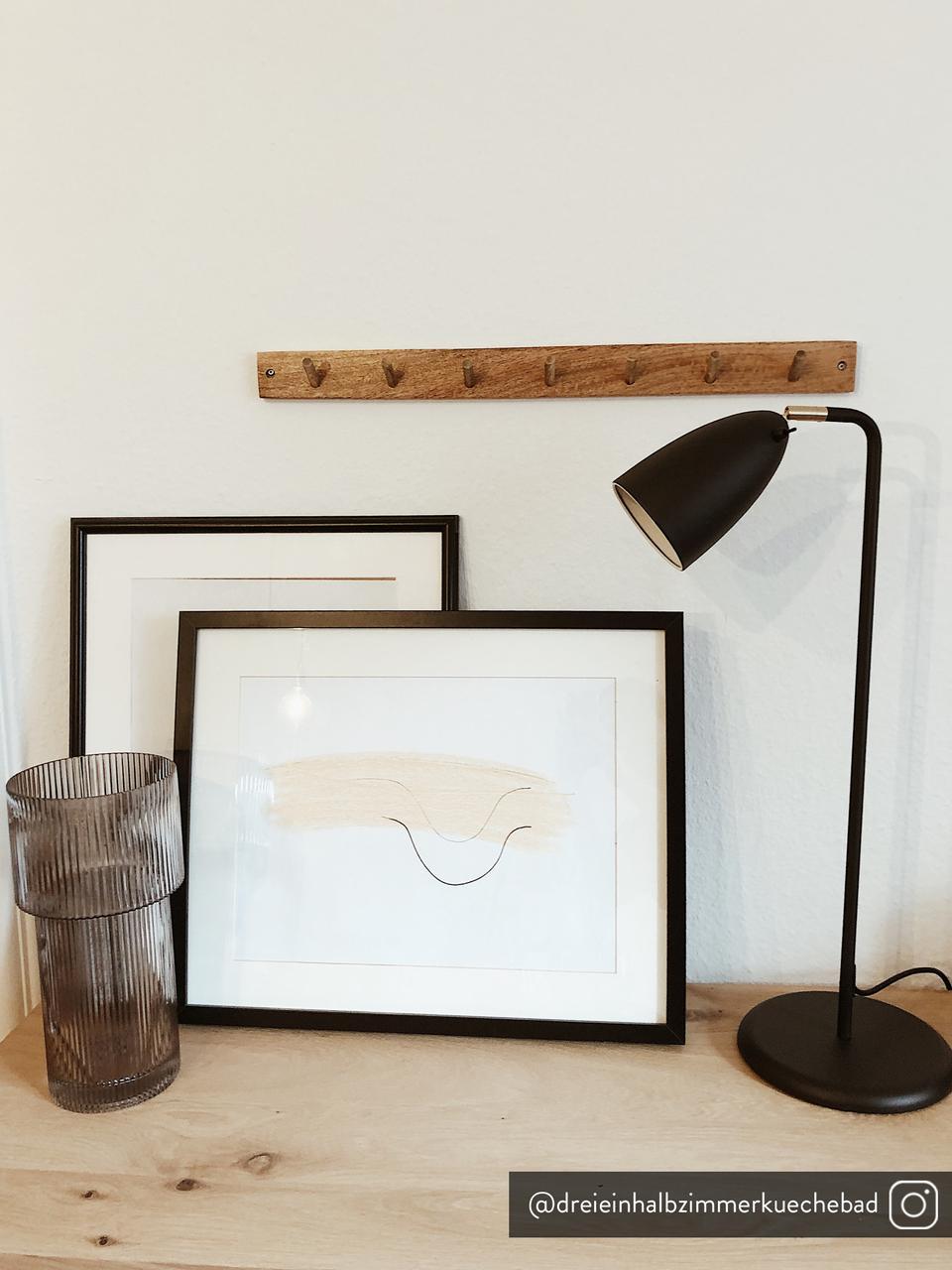 Große Schreibtischlampe Nexus aus Metall, Lampenschirm: Metall, pulverbeschichtet, Lampenfuß: Metall, pulverbeschichtet, Dekor: Metall, vermessingt, Schwarz, 28 x 63 cm