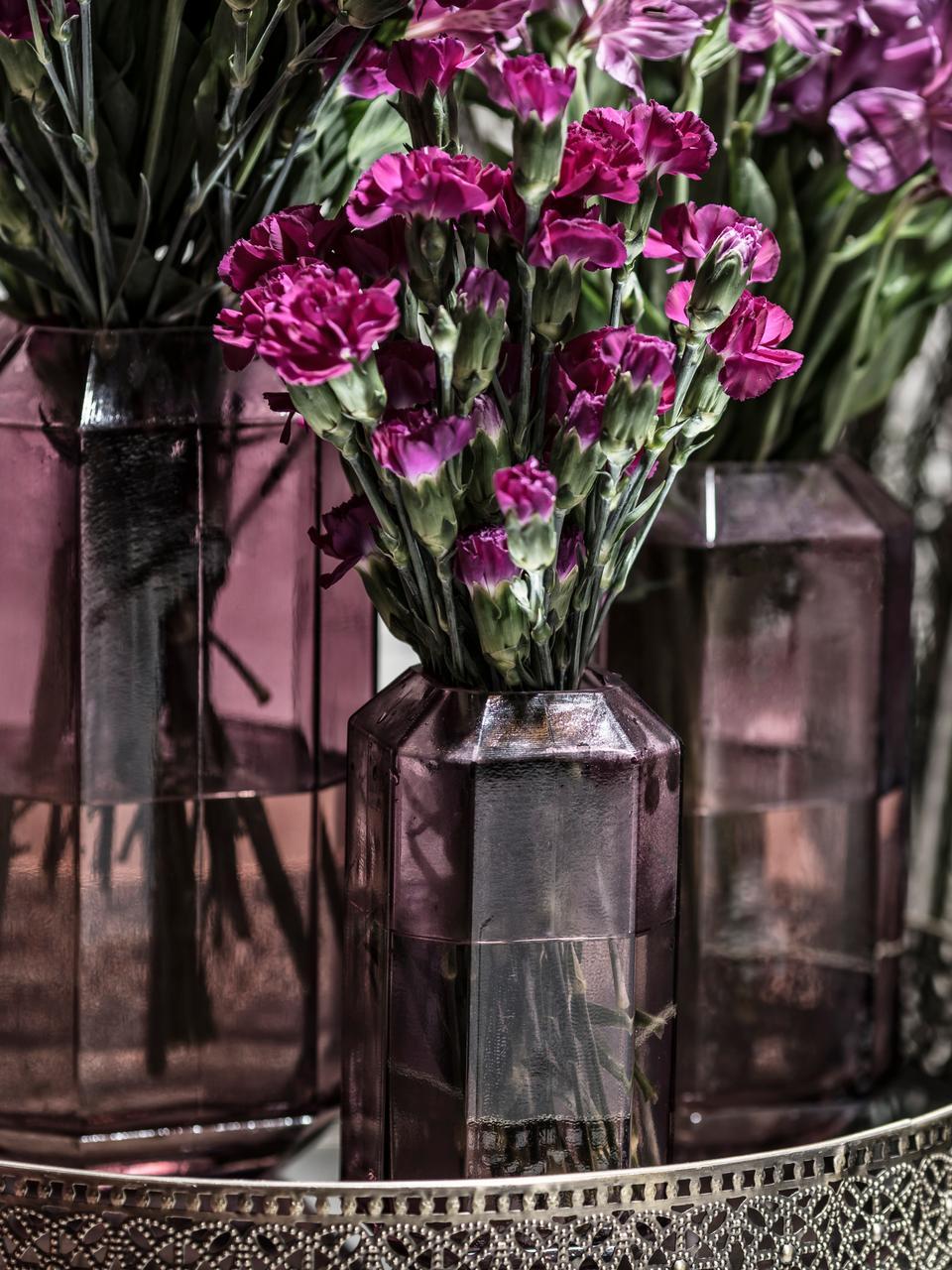 Glas-Vase Divine, Glas, Violett, transparent, Ø 8 x H 16 cm