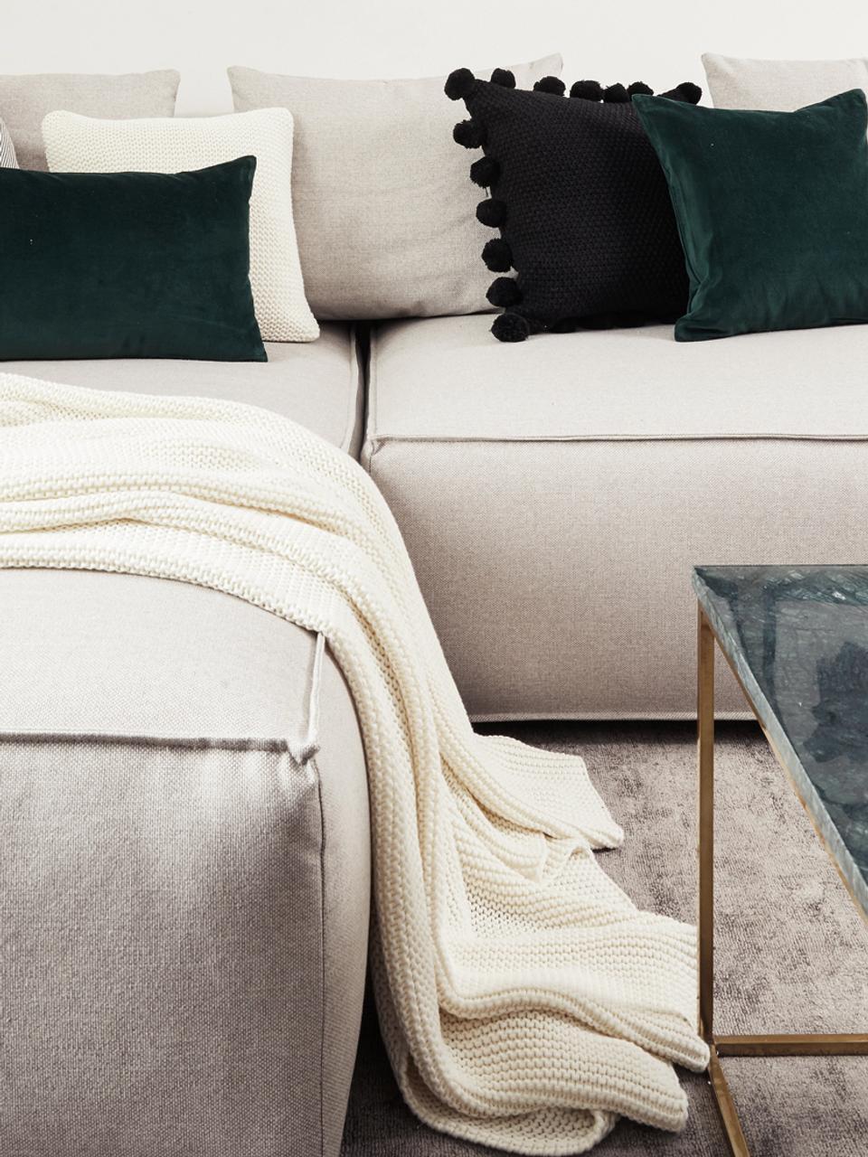 Plaid en tricot blanc Adalyn, Blanc naturel