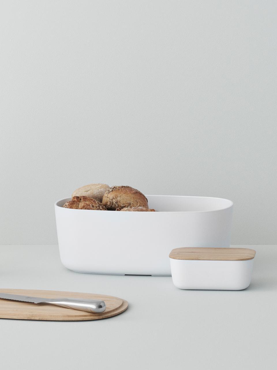 Boîte à pain design avec couvercle en bambouBox-It, Boîte: blanc Couvercle: brun
