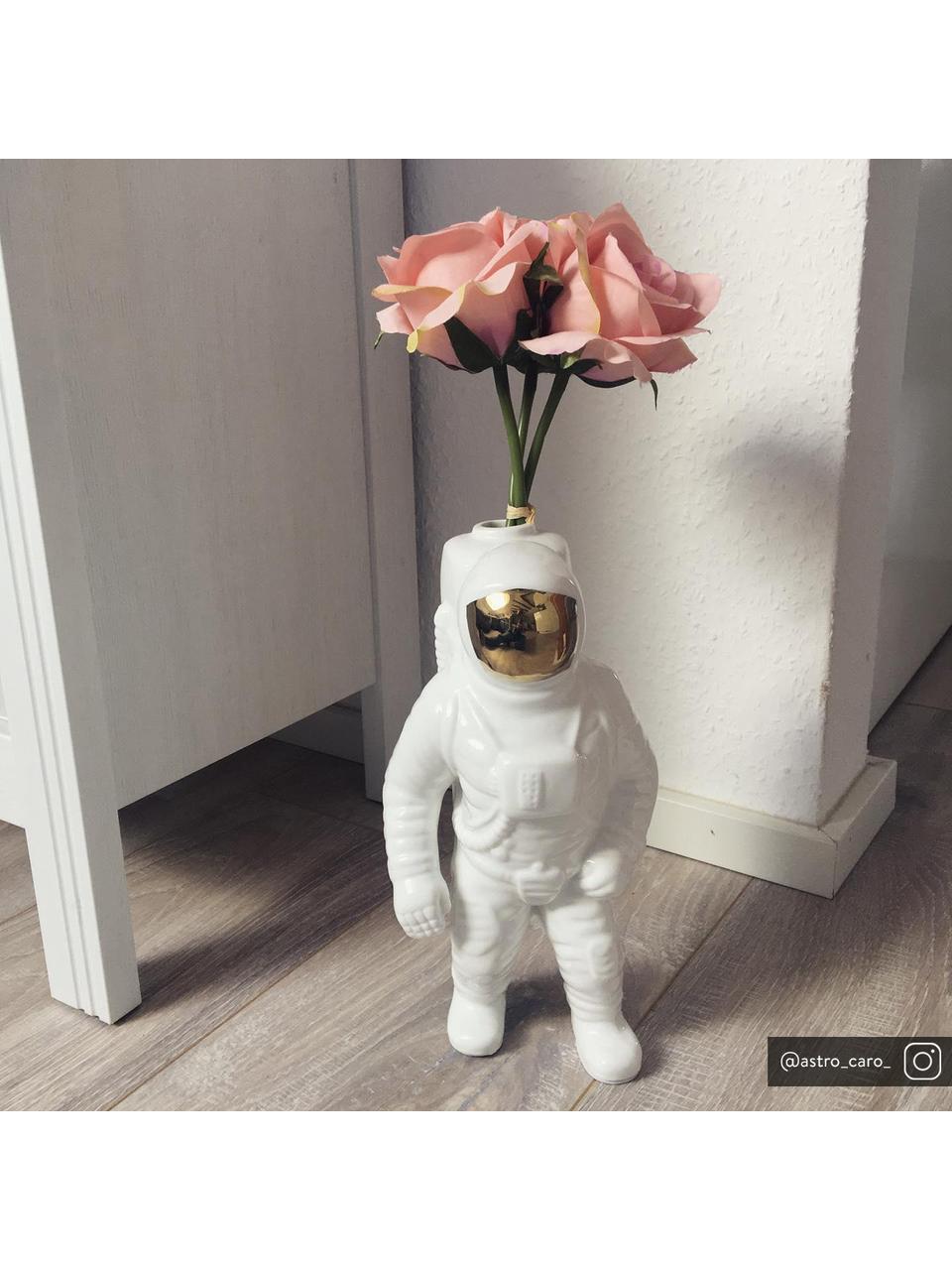 Deko-Vase Cosmic Diner Starman aus Porzellan, Porzellan, Weiß, Goldfarben, H 28 cm