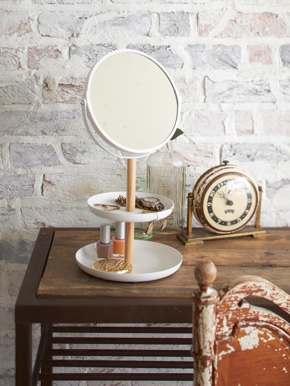 Lusterko kosmetyczne Tosca z powiększeniem, Biały, brązowy, S 18 x W 33 cm