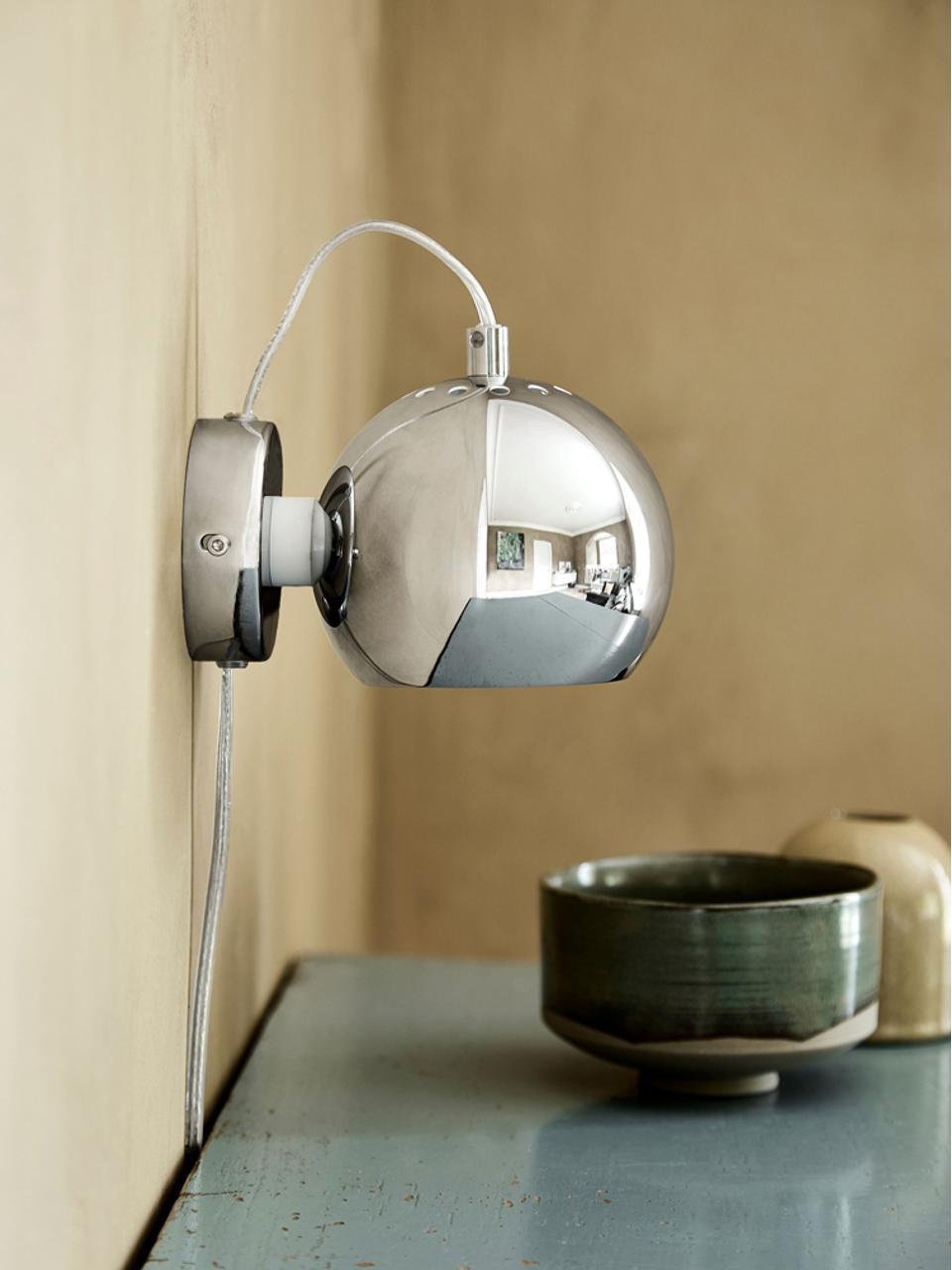 Applique con spina Ball, Metallo cromato, Argento lucido, Larg. 12 x Alt. 12 cm