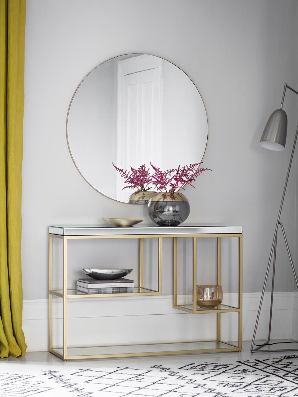 Konsole Pippard mit Glasplatten, Gestell: Metall, lackiert, Ablagefläche: Spiegelglas, Champagnerfarben, Transparent, B 120 x T 36 cm