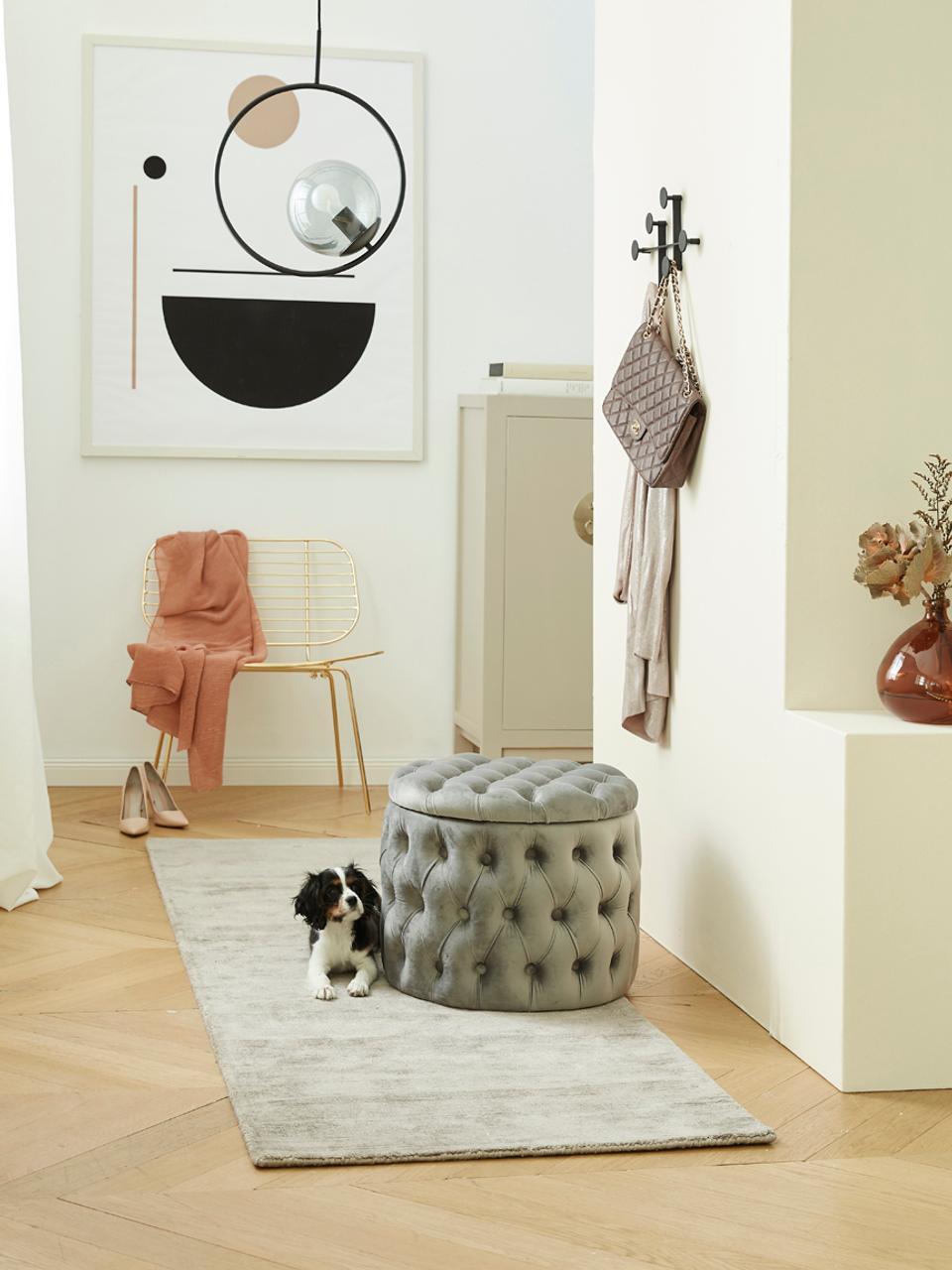 Samt-Hocker Chiara mit Stauraum, Bezug: Samt (Polyester) 20.000 S, Korpus: Eukalyptusholz, Grau, Ø 50 x H 42 cm
