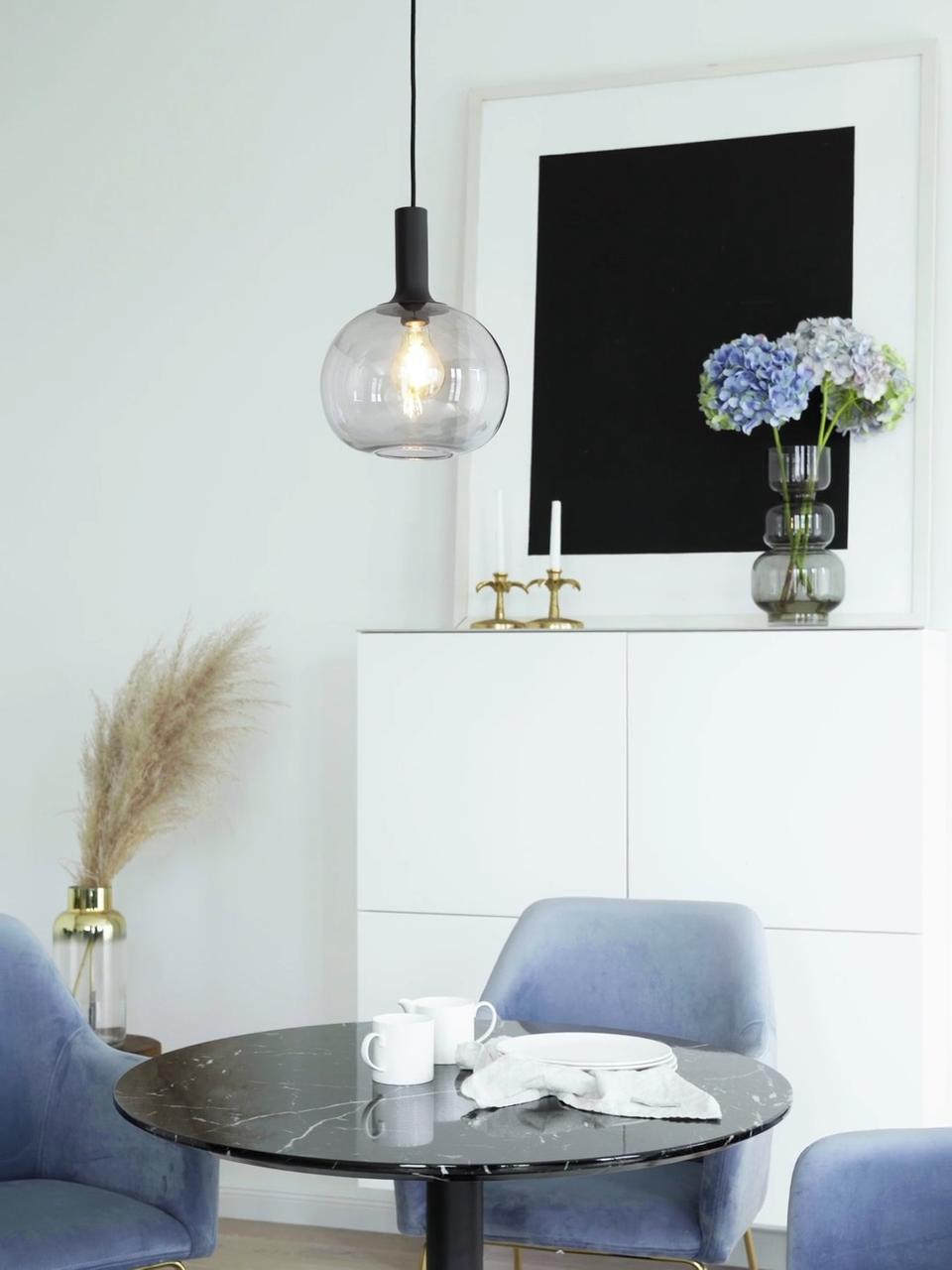 Kleine Pendelleuchte Alton aus Rauchglas, Lampenschirm: Glas, Baldachin: Metall, beschichtet, Schwarz, Grau, transparent, Ø 25 x H 33 cm