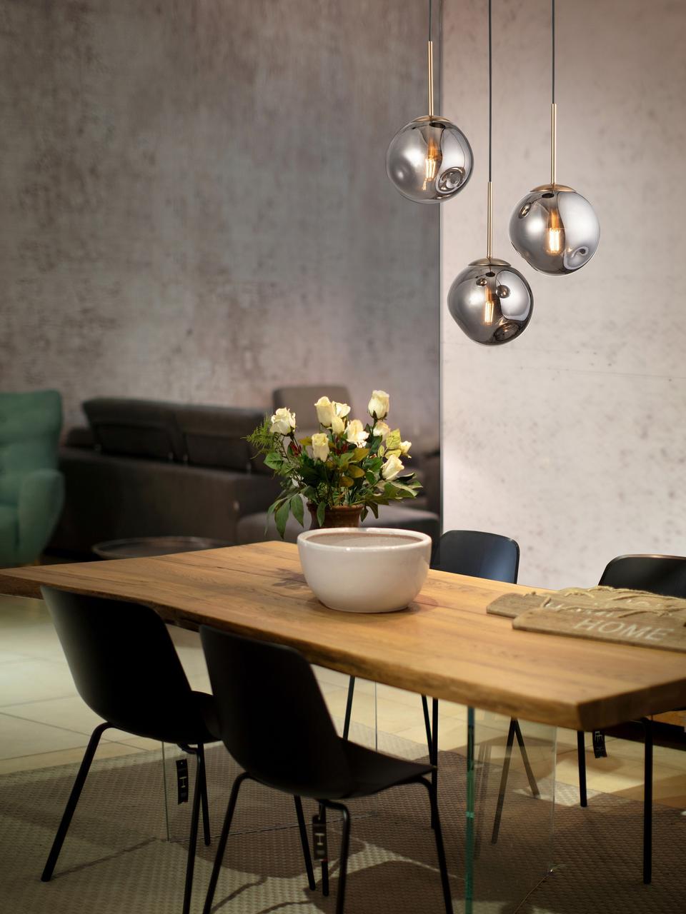 Hanglamp Spada van glas, Lampenkap: glas, Baldakijn: kunststof, Messingkleurig, grijs, Ø 40 x H 28 cm