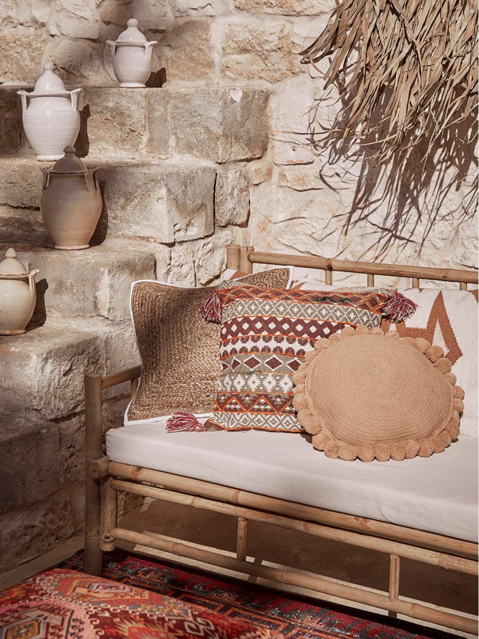 Canapé en bambou assise rembourrée Mandisa (3places), Bambou, blanc