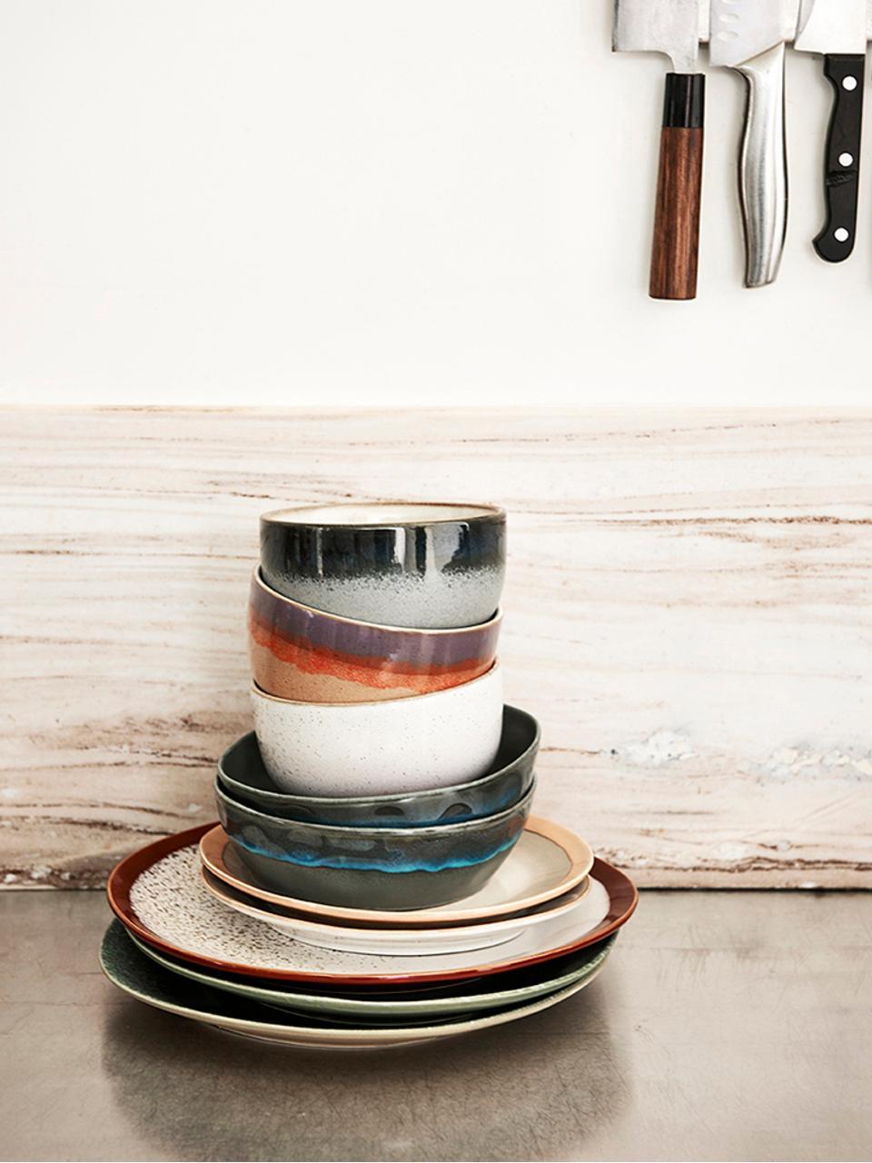 Handgemaakte dinerborden 70's in retro stijl, 2 stuks, Keramiek, Rood, wit, Ø 29 cm