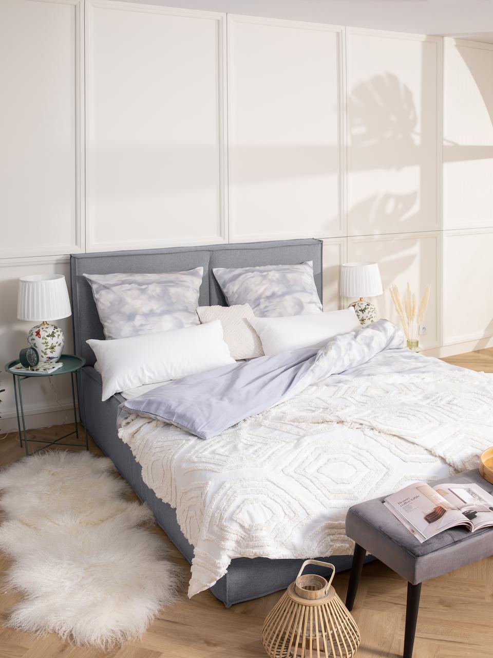 Letto imbottito in tessuto grigio con testiera Dream, Rivestimento: 100% poliestere Il rivest, Grigio, 180 x 200 cm