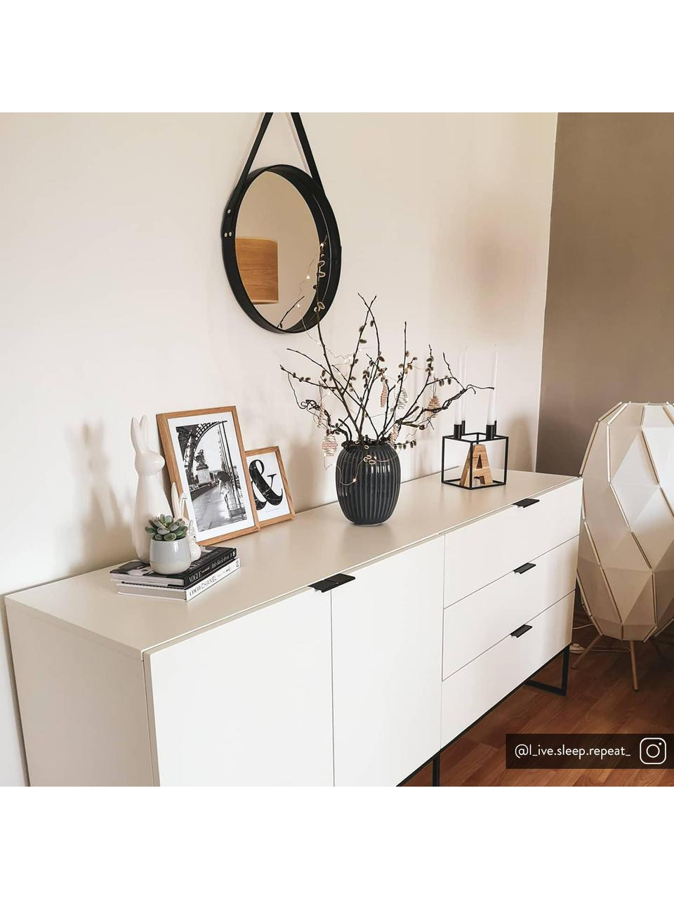 Aparador cajonera Kobe, Blanco, negro, An 180 x Al 80 cm
