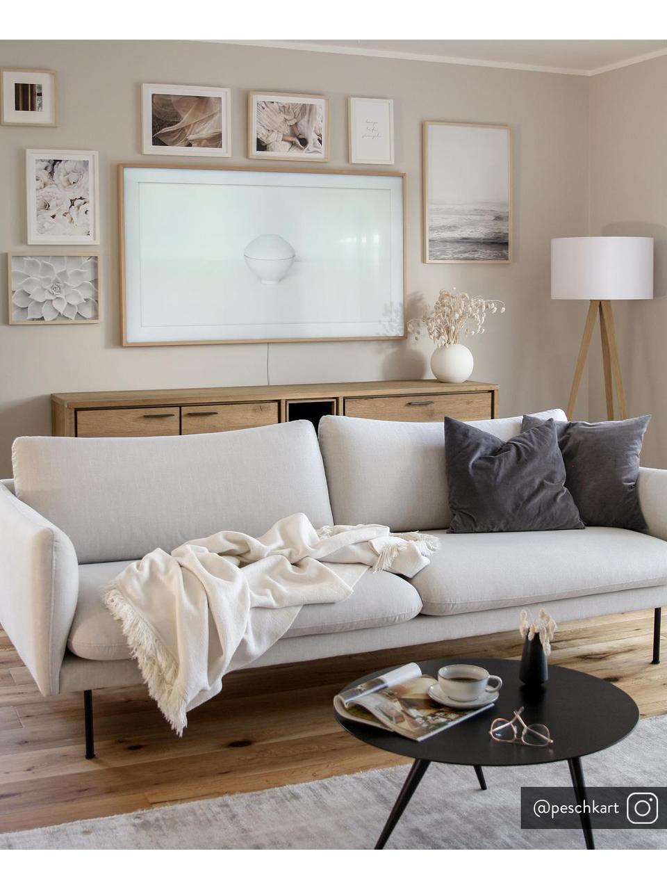 Sofa Moby (3-Sitzer) in Beige mit Metall-Füssen, Bezug: Polyester Der hochwertige, Gestell: Massives Kiefernholz, Webstoff Beige, B 220 x T 95 cm
