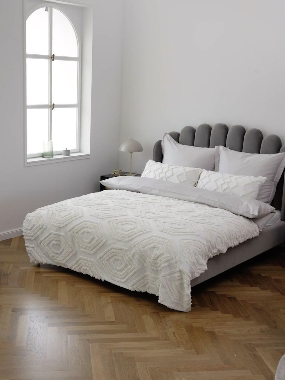 Tagesdecke Faye mit getuftetem Muster, 100% Baumwolle, Weiß, B 240 x L 260 cm (für Betten ab 160 x 200)