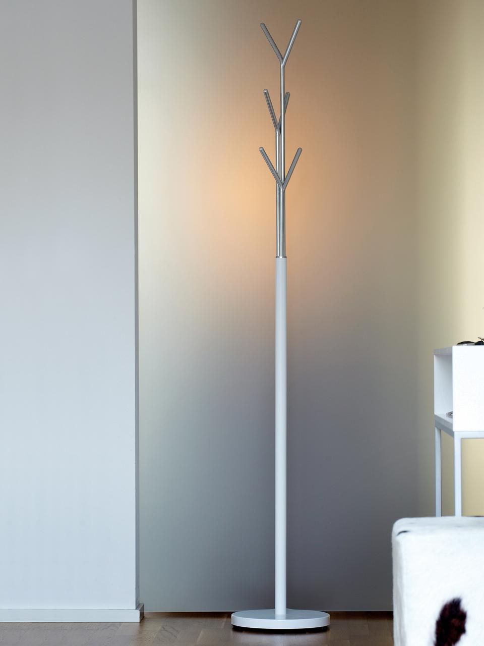 Wieszak stojący London, Biały, chrom, Ø 31 x W 177 cm