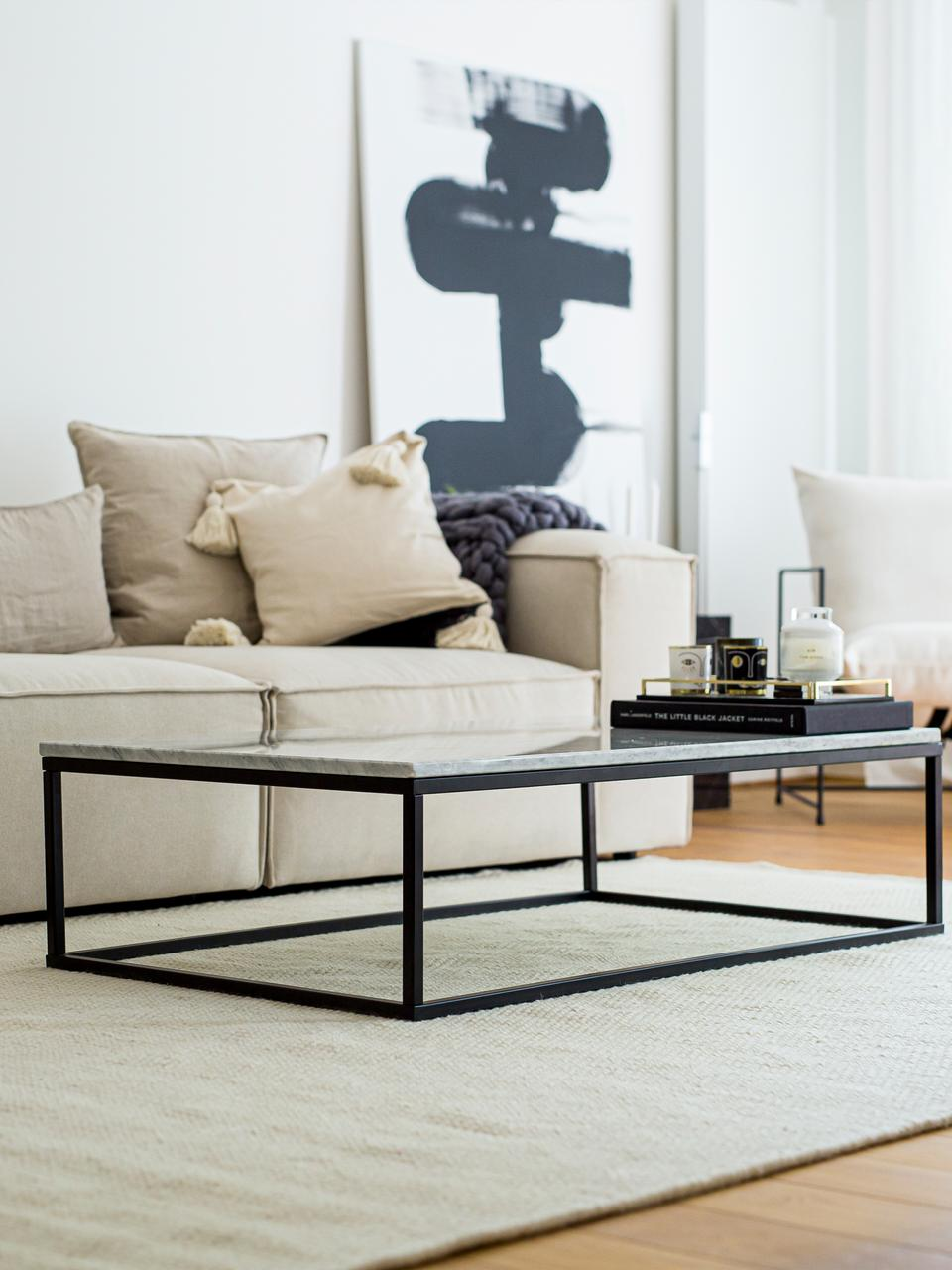 Marmor-Couchtisch Alys, Tischplatte: Marmor, Gestell: Metall, pulverbeschichtet, Weisser Marmor, Schwarz, 120 x 35 cm
