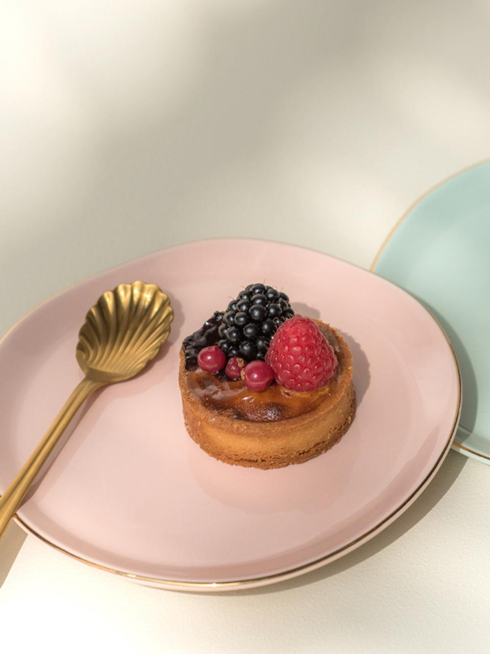 Taartplaat Good Morning in roze met goudkleurige rand, Porselein, Roze, goudkleurig, Ø 17 cm