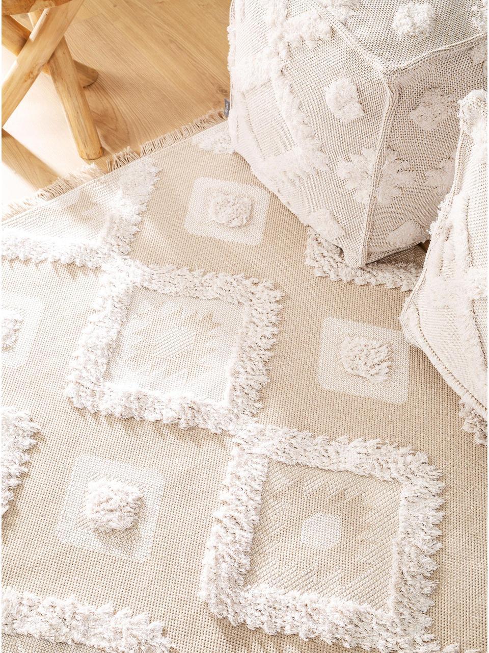 Waschbarer Baumwollteppich Oslo Squares mit Hoch-Tief-Strukturmuster und Fransen, 100% Baumwolle, Cremeweiß, Beige, B 75 x L 150 cm (Größe XS)