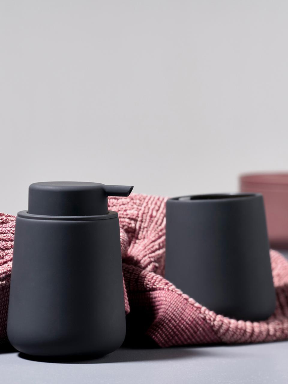 Dosificador de jabón Nova One, Recipiente: porcelana, Dosificador: plástico, Negro, Ø 8 x Al 12 cm
