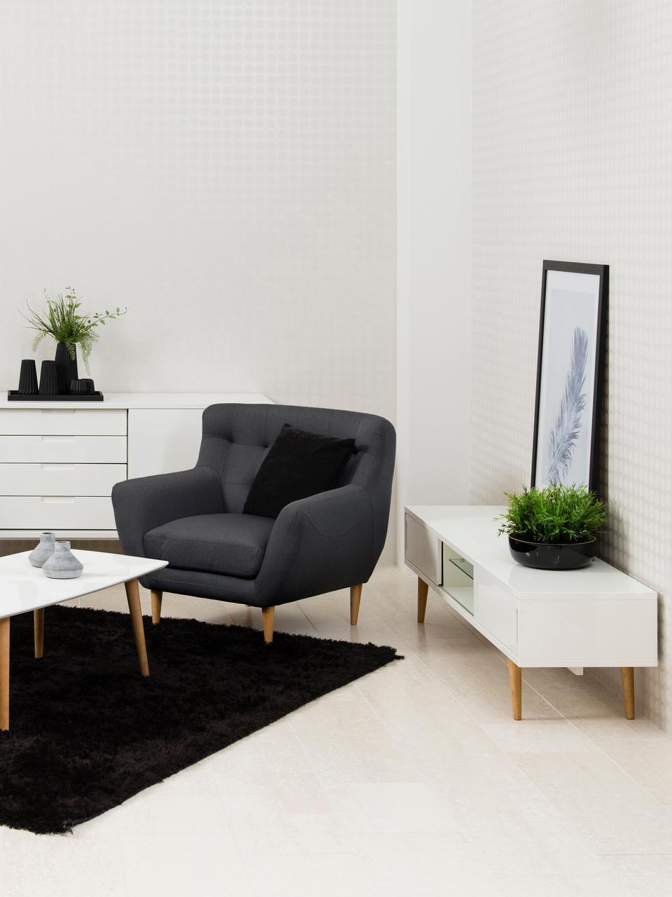 Tv-meubel Cassie in wit hoogglans, Poten: massief en geolied essenh, Plank: glas, Wit, bruin, 180 x 46 cm