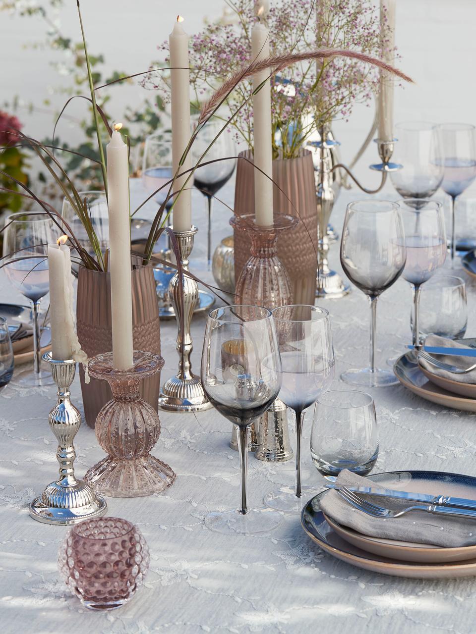 Kandelaar Silva, Glas, Roze, transparant, Ø 10 x H 14 cm
