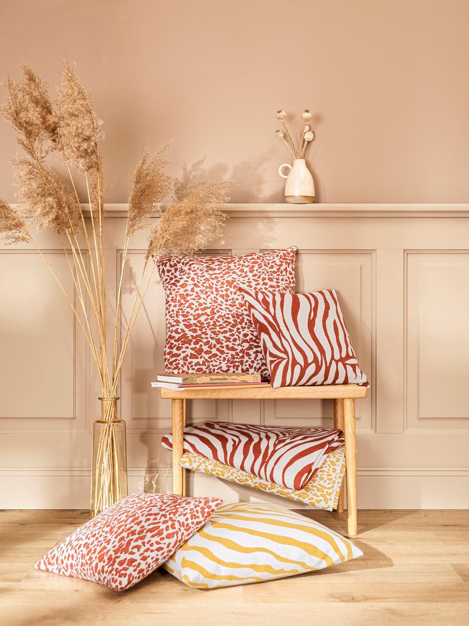 Kissenhülle Sana mit Zebra-Print in Gelb/Weiß, Webart: Jacquard, Senfgelb, Weiß, 50 x 50 cm