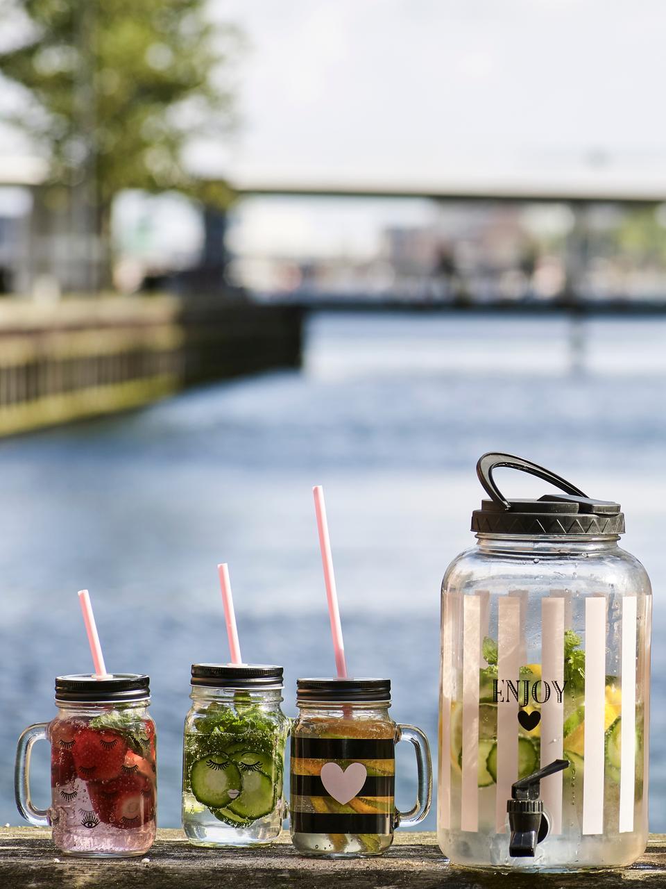 Trinkgläser Stripes & Heart, 2 Stück, Behälter: Glas, Deckel: Metall, Kunststoff, Strohhalm: Kunststoff, Transparent, Schwarz, Rosa, Ø 7 x H 16 cm