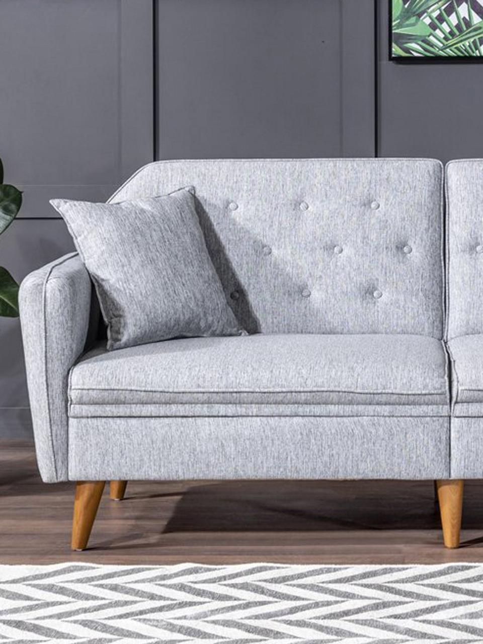 Sofa z funkcją spania (3-osobowa) Terra, Tapicerka: len, Stelaż: drewno rogowe, metal, Nogi: drewno naturalne, Szary, S 202 x G 83 cm