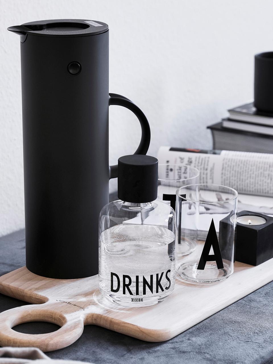 Bicchiere acqua in vetro Personal (varianti dalla A alla Z), Vetro borosilicato, Trasparente, nero, Bicchieri per l'acqua A