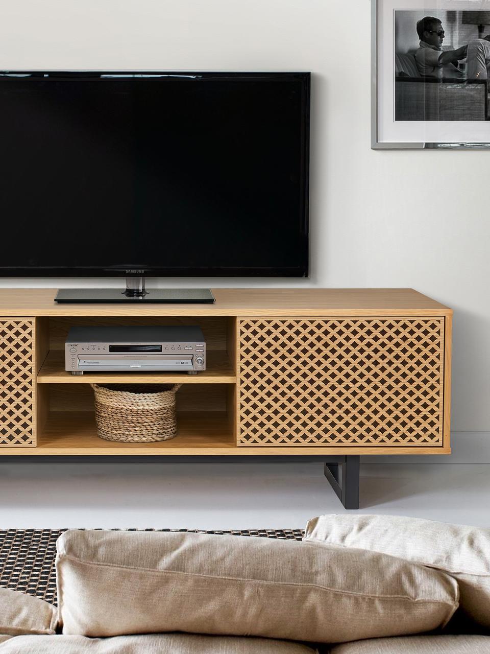 Mobile TV con ante e finitura in rovere Camden, Piedini: legno di betulla vernicia, Legno di quercia, nero, Larg. 150 x Alt. 50 cm