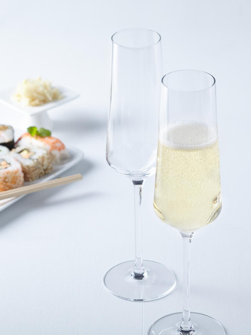 Sekt- und Champagnergläser Puccini, 6er-Set, Teqton®-Glas, Transparent, Ø 7 x H 26 cm