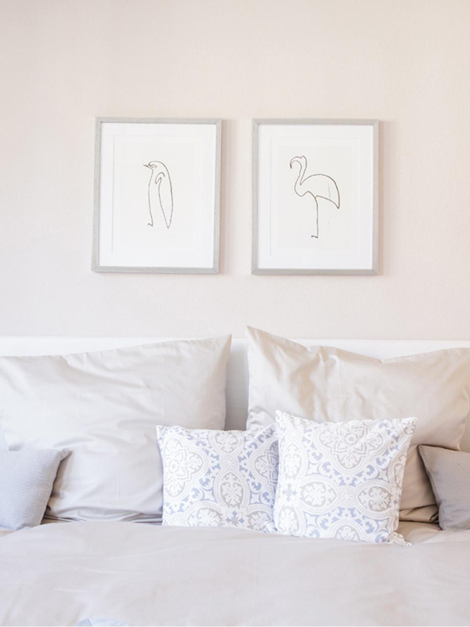 Ingelijste digitale print Picasso's Flamingo, Lijst: kunststof met antieke afw, Print: zwart, wit. Lijst: zilverkleurig, 40 x 50 cm