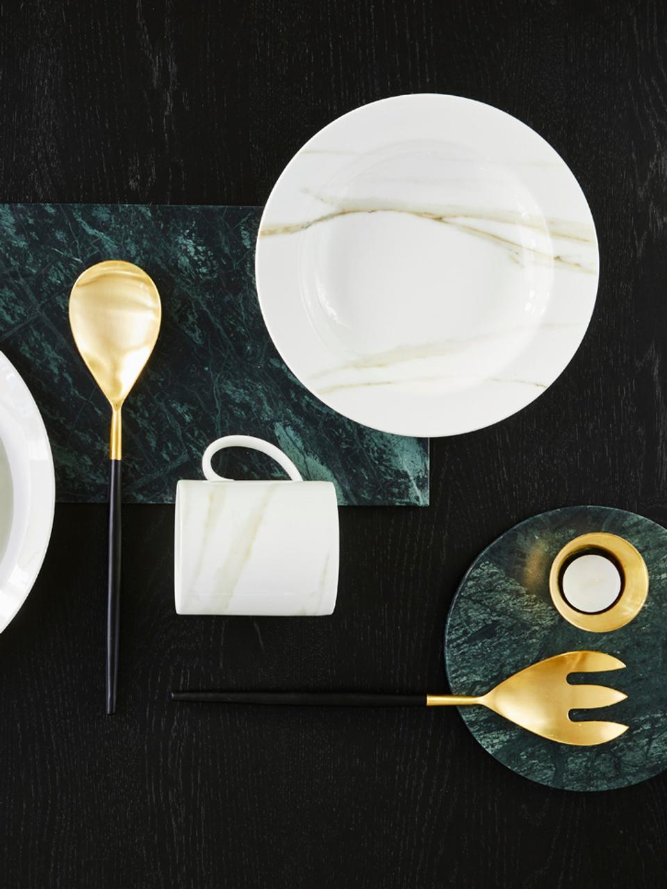 Goldfarbenes Salatbesteck Lupo mit schwarzem Griff,  2er-Set, Rostfreier Stahl, beschichtet, Schwarz, Goldfarben, 6 x 30 cm