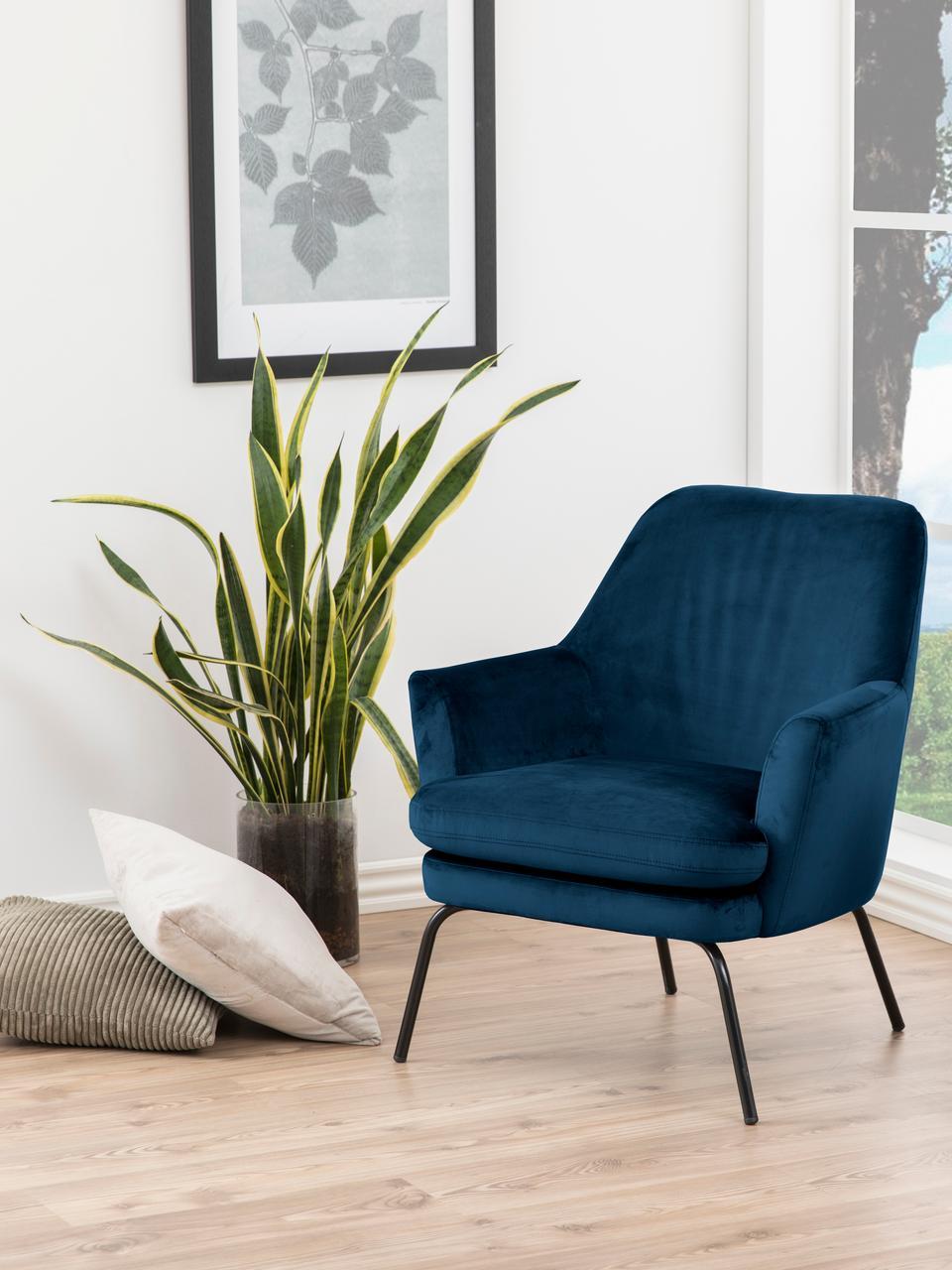 Fauteuil lounge en velours bleu Chisa, Velours bleu marine